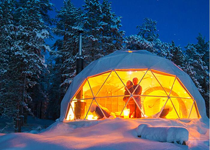 winter dome glamping tent