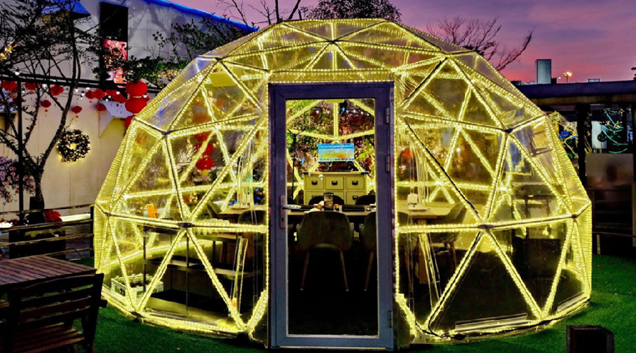 5m clear dome coffee dinner tent